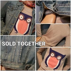 SOLD TOGETHER DENIM JACKET AND SWEATER SIZE SMALL